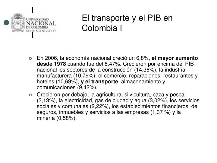 El transporte y el PIB en Colombia I