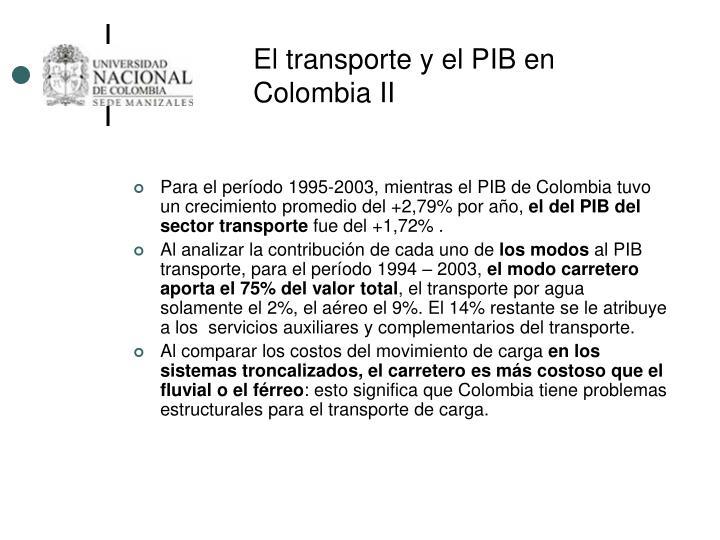 El transporte y el PIB en Colombia II