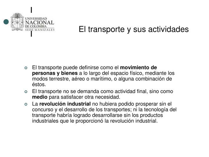 El transporte y sus actividades
