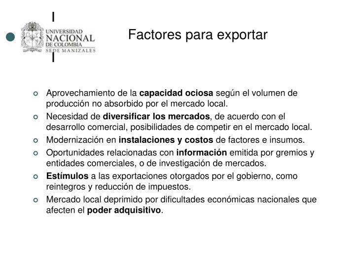 Factores para exportar