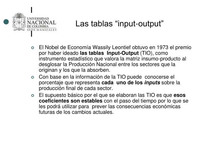"""Las tablas """"input-output"""""""
