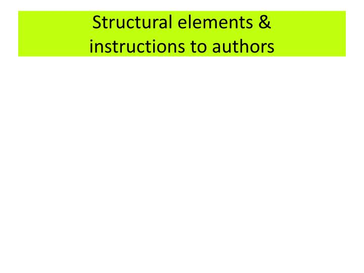 Structural elements &