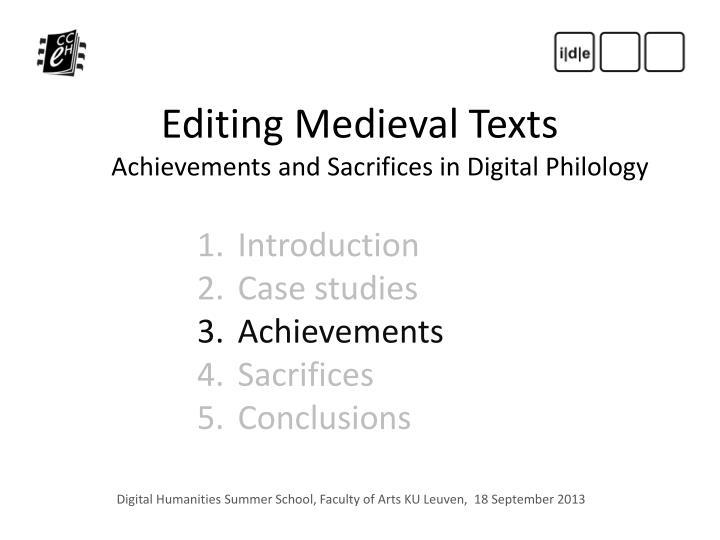 Editing Medieval Texts