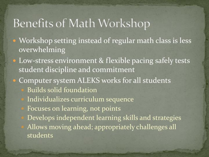 Benefits of Math Workshop