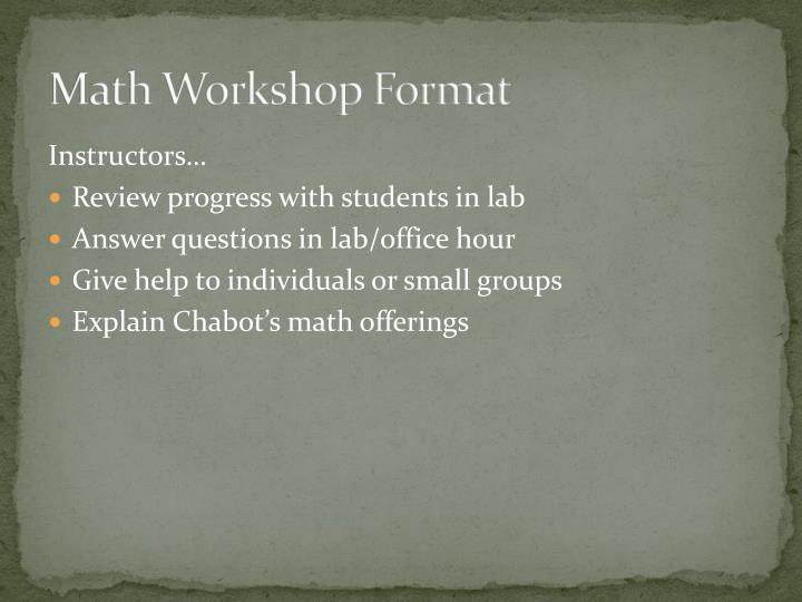 Math Workshop Format