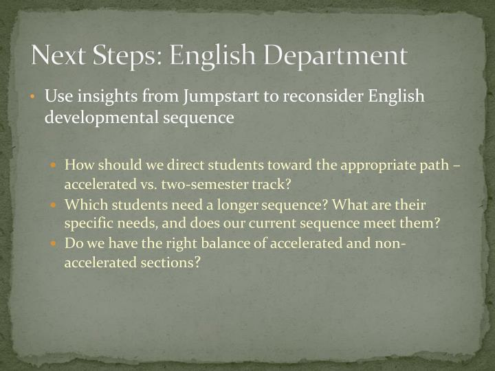 Next Steps: English Department