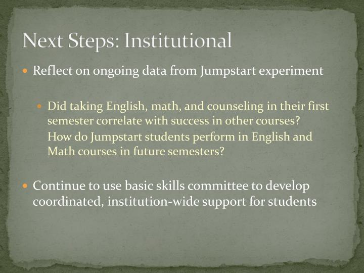 Next Steps: Institutional