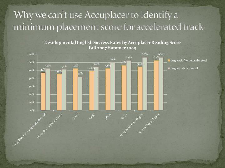 Why we can't use Accuplacer to identify a minimum placement score for accelerated track