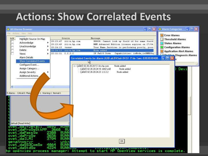 Actions: Show Correlated Events