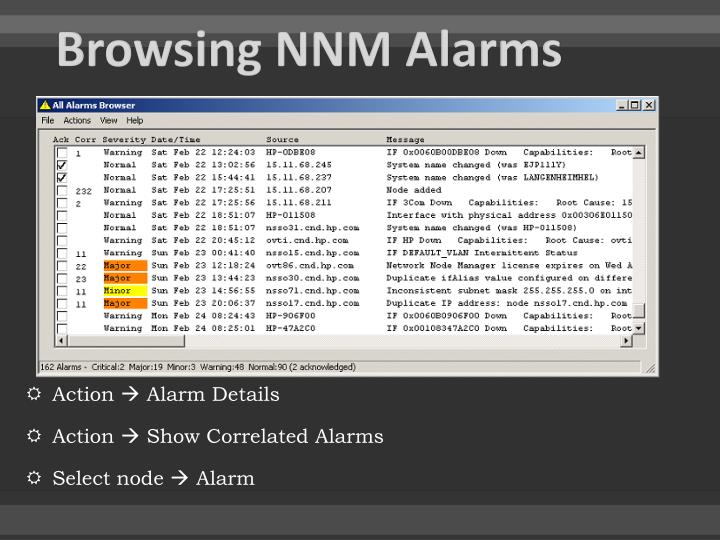 Browsing NNM Alarms