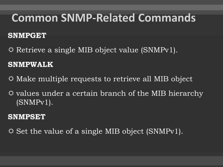 Common SNMP-Related Commands