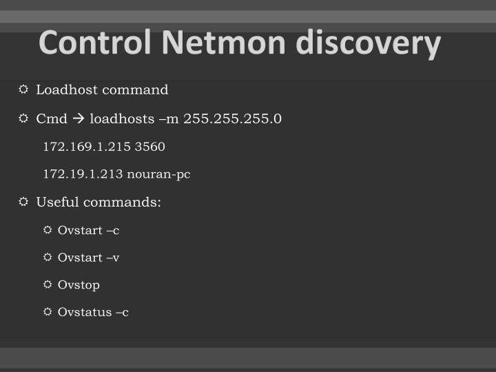 Control Netmon discovery
