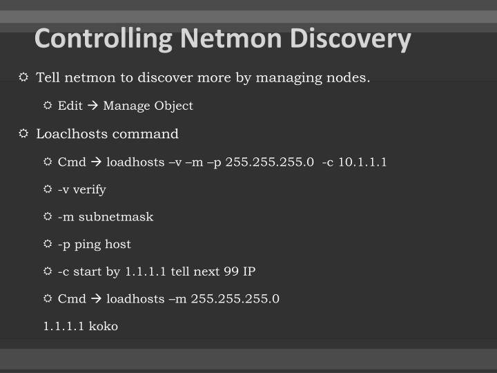 Controlling Netmon Discovery