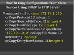 how to copy configurations from cisco devices using snmp to tftp server1
