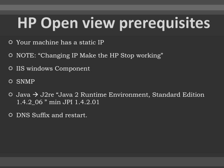 HP Open view prerequisites