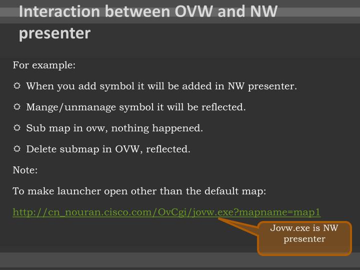 Interaction between OVW and NW presenter
