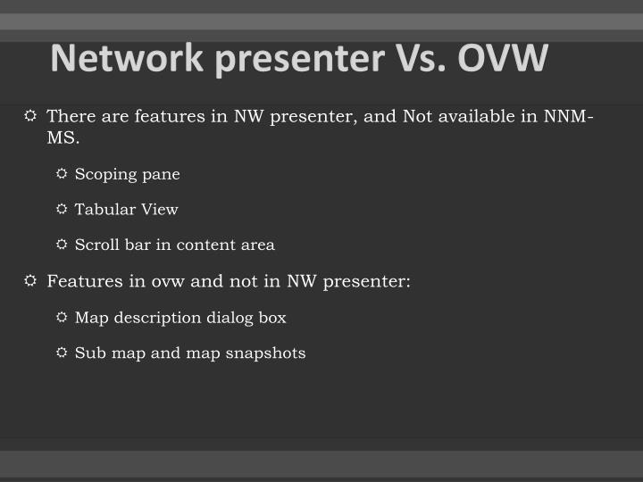 Network presenter Vs. OVW