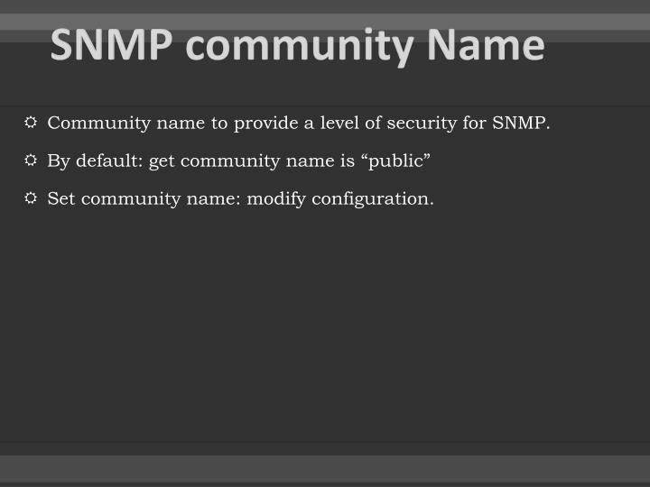 SNMP community Name