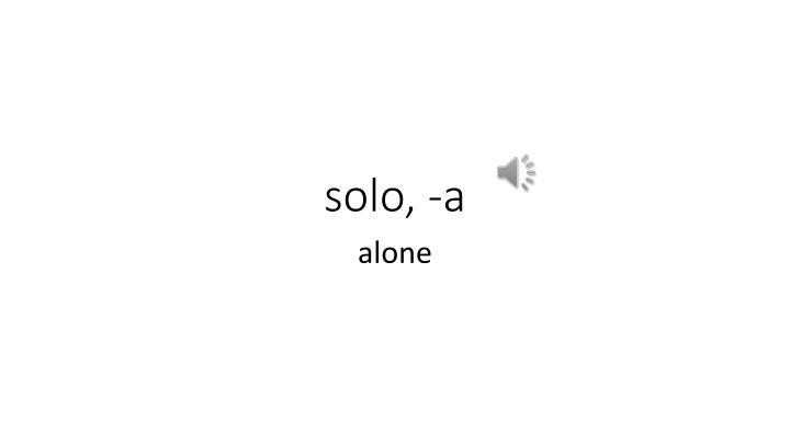 solo, -a