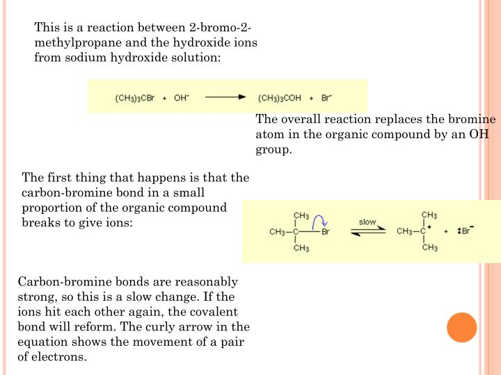 This is a reaction between 2-bromo-2-methylpropane and the hydroxide ions from sodium hydroxide solu...