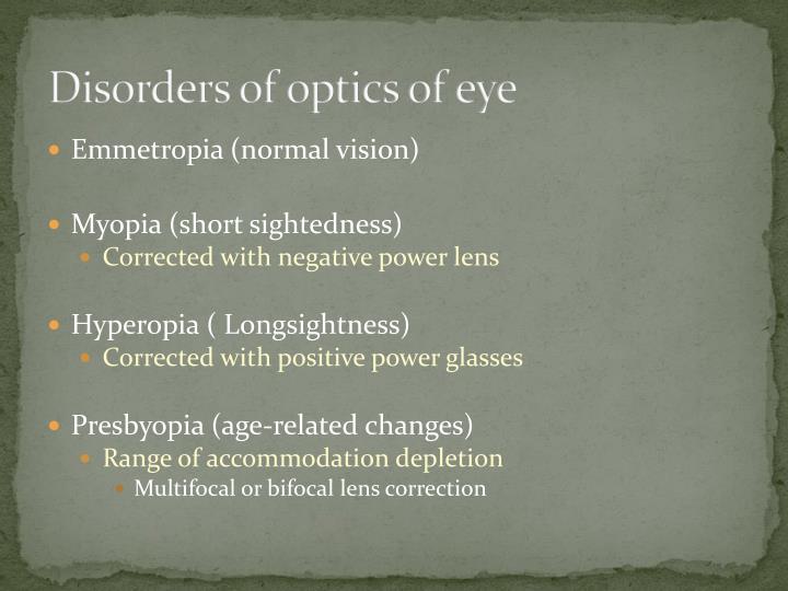 Disorders of optics of eye