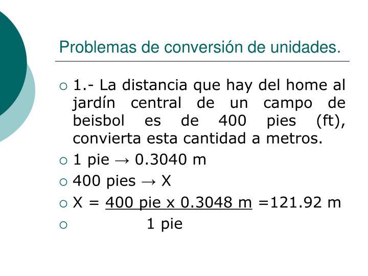 Problemas de conversión de unidades.