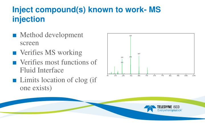 Inject compound(s) known to work- MS injection