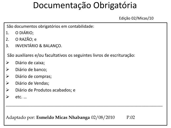 Documentação Obrigatória