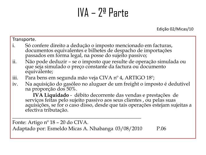IVA – 2ª Parte