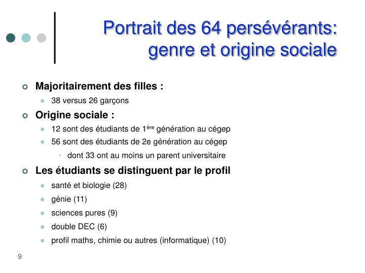Portrait des 64 persévérants: genre et origine sociale