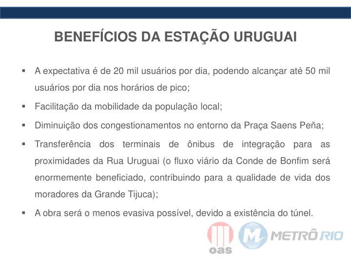 BENEFÍCIOS DA ESTAÇÃO URUGUAI