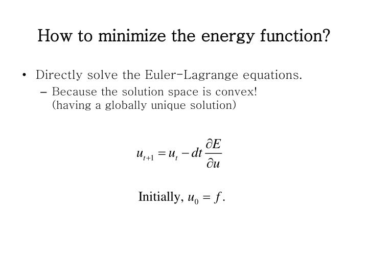 How to minimize the energy function?