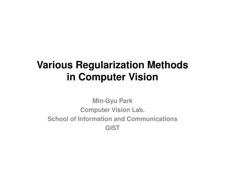 Various regularization methods in computer vision