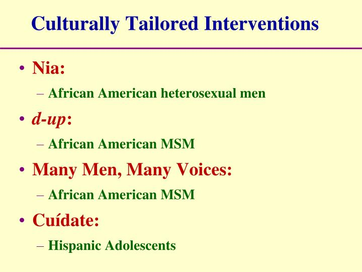 Culturally Tailored Interventions