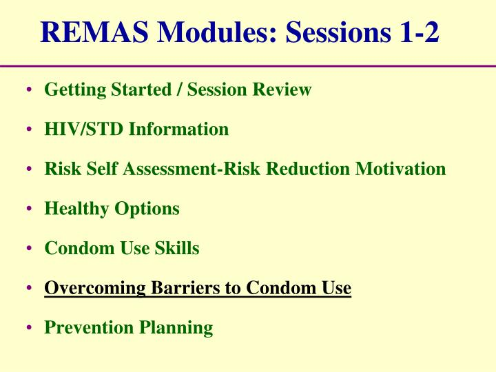 REMAS Modules: Sessions 1-2