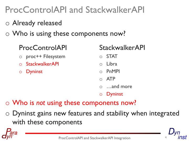 ProcControlAPI and StackwalkerAPI