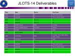 jlots 14 deliverables