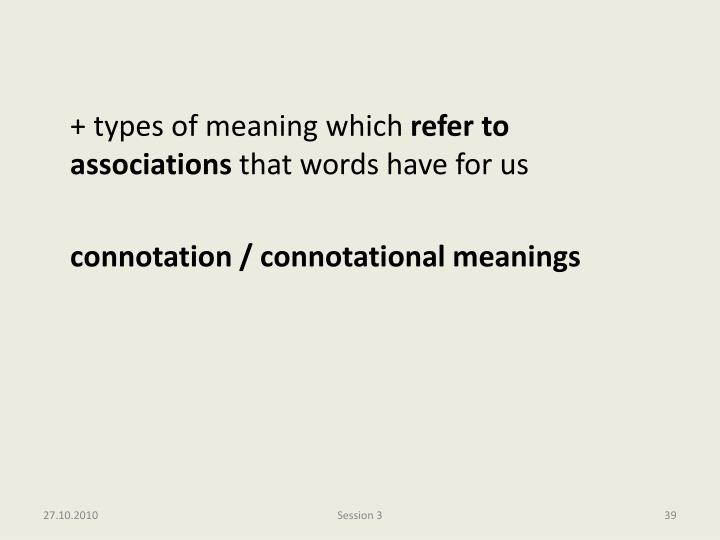 + types of meaning which