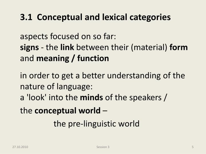 3.1  Conceptual and lexical categories