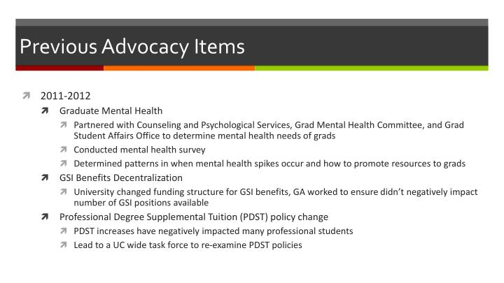 Previous advocacy items