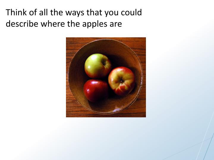 Think of all the ways that you could describe where the apples are