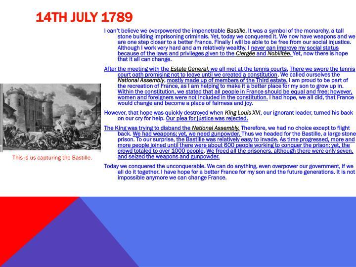 14th July 1789