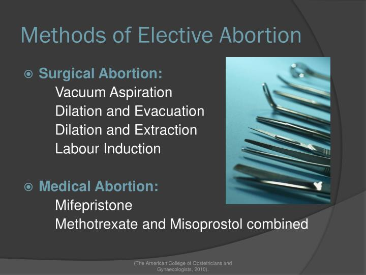 Methods of Elective Abortion