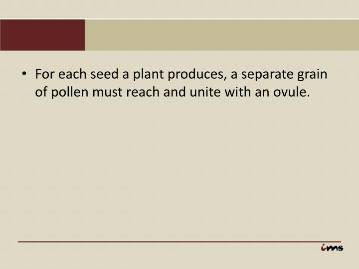 For each seed a plant produces, a separate grain of pollen must reach and unite with an ovule.