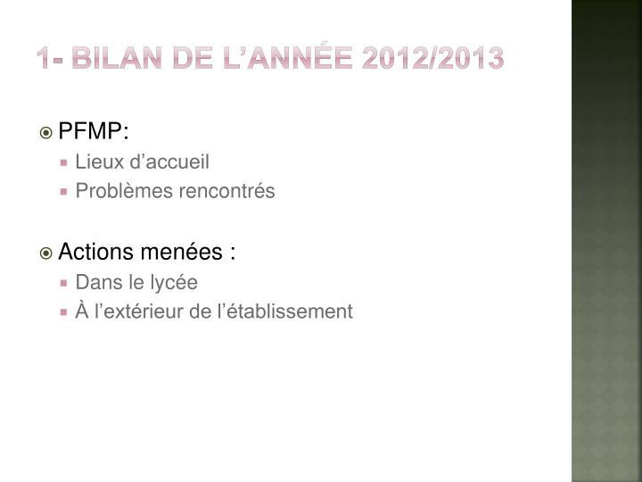 1- Bilan de l'année 2012/2013