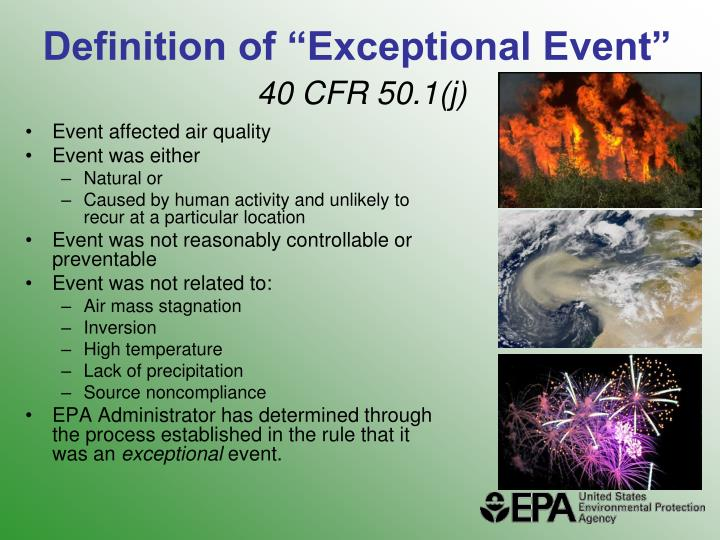 "Definition of ""Exceptional Event"""