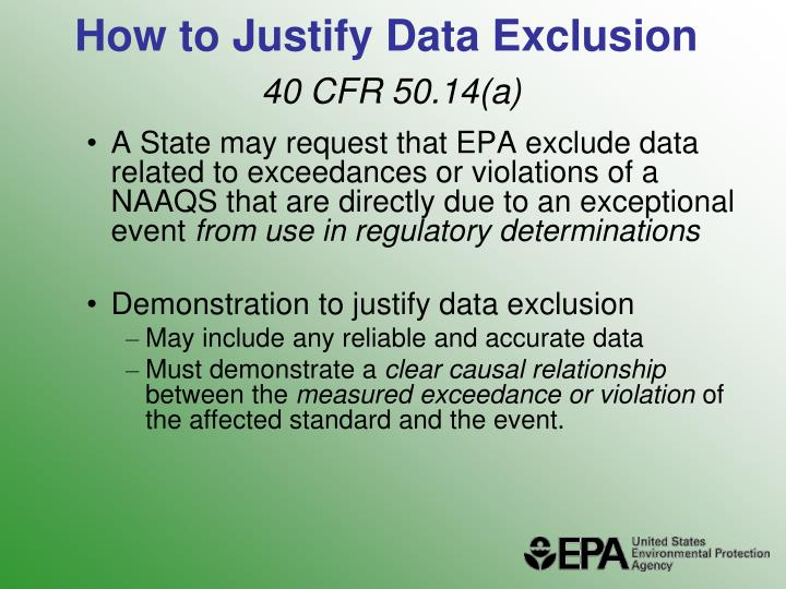 How to justify data exclusion 40 cfr 50 14 a