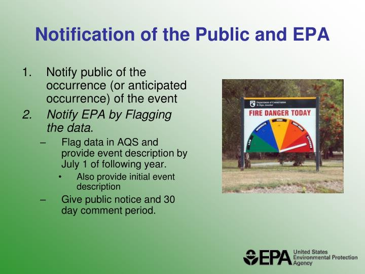 Notification of the Public and EPA