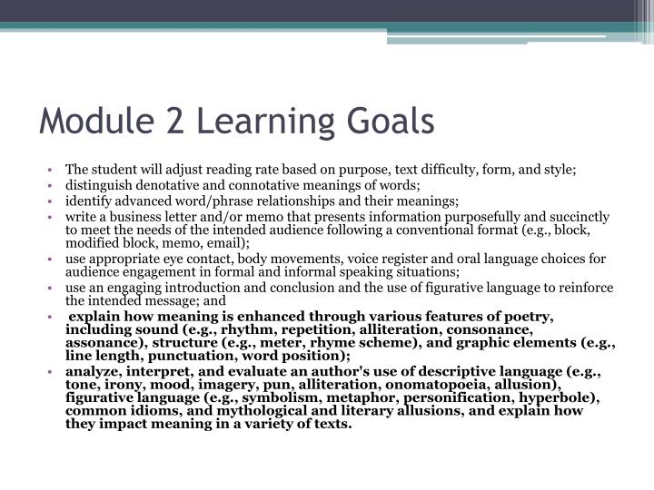 Module 2 learning goals