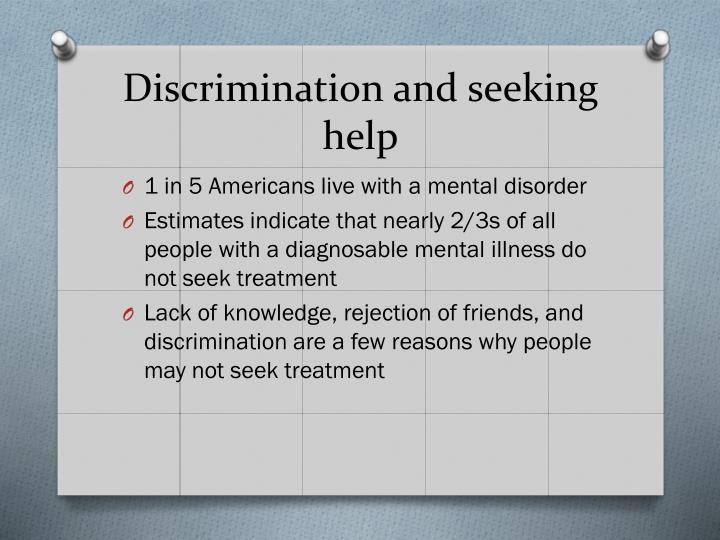 Discrimination and seeking help